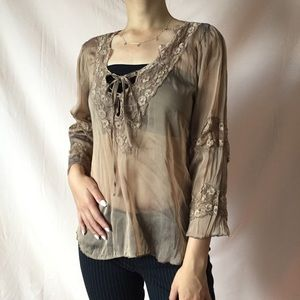 SHEER LACY LACE-UP BLOUSE